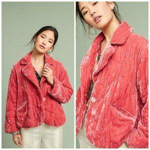 Anthropologie Pink Quilted Velvet Puffer Jacket